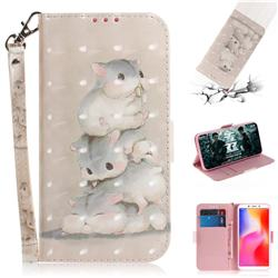 Three Squirrels 3D Painted Leather Wallet Phone Case for Mi Xiaomi Redmi 6A