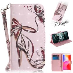Butterfly High Heels 3D Painted Leather Wallet Phone Case for Mi Xiaomi Redmi 6A