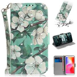 Watercolor Flower 3D Painted Leather Wallet Phone Case for Mi Xiaomi Redmi 6A