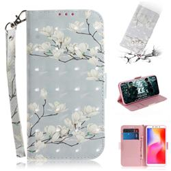 Magnolia Flower 3D Painted Leather Wallet Phone Case for Mi Xiaomi Redmi 6A