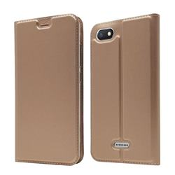 Ultra Slim Card Magnetic Automatic Suction Leather Wallet Case for Mi Xiaomi Redmi 6A - Rose Gold