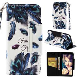 Peacock Feather Big Metal Buckle PU Leather Wallet Phone Case for Mi Xiaomi Redmi 6A