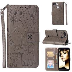 Embossing Fireworks Elephant Leather Wallet Case for Mi Xiaomi Redmi 6A - Gray