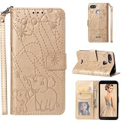 Embossing Fireworks Elephant Leather Wallet Case for Mi Xiaomi Redmi 6A - Golden