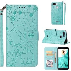 Embossing Fireworks Elephant Leather Wallet Case for Mi Xiaomi Redmi 6A - Green