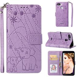 Embossing Fireworks Elephant Leather Wallet Case for Mi Xiaomi Redmi 6A - Purple
