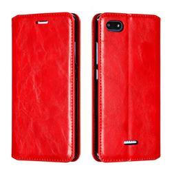 Retro Slim Magnetic Crazy Horse PU Leather Wallet Case for Mi Xiaomi Redmi 6A - Red