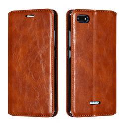 Retro Slim Magnetic Crazy Horse PU Leather Wallet Case for Mi Xiaomi Redmi 6A - Brown