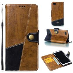 Retro Magnetic Stitching Wallet Flip Cover for Mi Xiaomi Redmi 6A - Brown