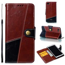 Retro Magnetic Stitching Wallet Flip Cover for Mi Xiaomi Redmi 6A - Dark Red