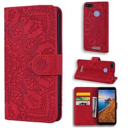 Retro Embossing Mandala Flower Leather Wallet Case for Mi Xiaomi Redmi 6A - Red
