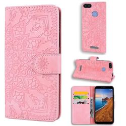 Retro Embossing Mandala Flower Leather Wallet Case for Mi Xiaomi Redmi 6A - Pink