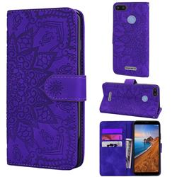 Retro Embossing Mandala Flower Leather Wallet Case for Mi Xiaomi Redmi 6A - Purple