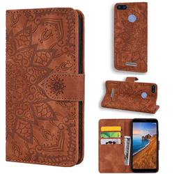 Retro Embossing Mandala Flower Leather Wallet Case for Mi Xiaomi Redmi 6A - Brown