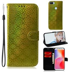 Laser Circle Shining Leather Wallet Phone Case for Mi Xiaomi Redmi 6A - Golden