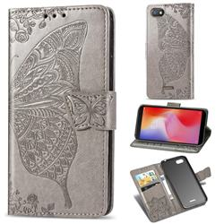 Embossing Mandala Flower Butterfly Leather Wallet Case for Mi Xiaomi Redmi 6A - Gray