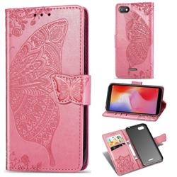 Embossing Mandala Flower Butterfly Leather Wallet Case for Mi Xiaomi Redmi 6A - Pink