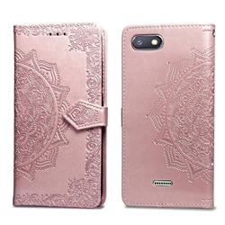 Embossing Imprint Mandala Flower Leather Wallet Case for Mi Xiaomi Redmi 6A - Rose Gold