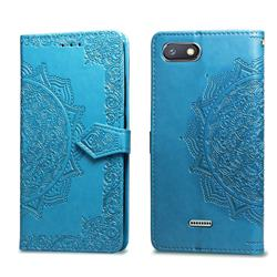 Embossing Imprint Mandala Flower Leather Wallet Case for Mi Xiaomi Redmi 6A - Blue