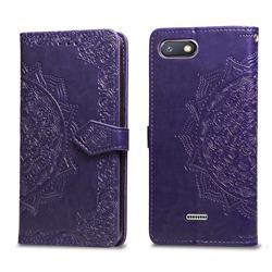Embossing Imprint Mandala Flower Leather Wallet Case for Mi Xiaomi Redmi 6A - Purple