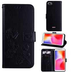 Embossing Rose Flower Leather Wallet Case for Mi Xiaomi Redmi 6A - Black