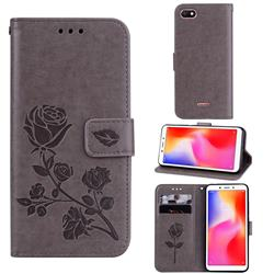 Embossing Rose Flower Leather Wallet Case for Mi Xiaomi Redmi 6A - Grey