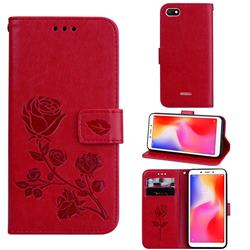 Embossing Rose Flower Leather Wallet Case for Mi Xiaomi Redmi 6A - Red