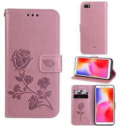 Embossing Rose Flower Leather Wallet Case for Mi Xiaomi Redmi 6A - Rose Gold