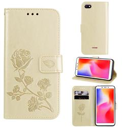 Embossing Rose Flower Leather Wallet Case for Mi Xiaomi Redmi 6A - Golden