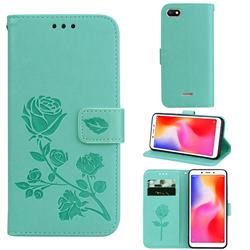 Embossing Rose Flower Leather Wallet Case for Mi Xiaomi Redmi 6A - Green
