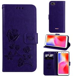 Embossing Rose Flower Leather Wallet Case for Mi Xiaomi Redmi 6A - Purple
