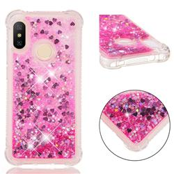 Dynamic Liquid Glitter Sand Quicksand TPU Case for Xiaomi Mi A2 Lite (Redmi 6 Pro) - Pink Love Heart