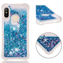 Dynamic Liquid Glitter Sand Quicksand TPU Case for Xiaomi Mi A2 Lite (Redmi 6 Pro) - Blue Love Heart