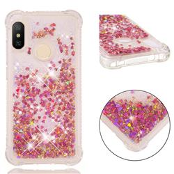 Dynamic Liquid Glitter Sand Quicksand TPU Case for Xiaomi Mi A2 Lite (Redmi 6 Pro) - Rose Gold Love Heart