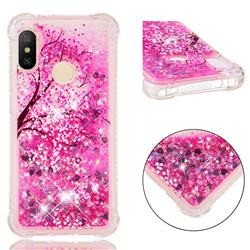Pink Cherry Blossom Dynamic Liquid Glitter Sand Quicksand Star TPU Case for Xiaomi Mi A2 Lite (Redmi 6 Pro)