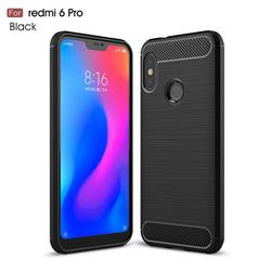 Luxury Carbon Fiber Brushed Wire Drawing Silicone TPU Back Cover for Xiaomi Mi A2 Lite (Redmi 6 Pro) - Black