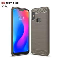 Luxury Carbon Fiber Brushed Wire Drawing Silicone TPU Back Cover for Xiaomi Mi A2 Lite (Redmi 6 Pro) - Gray