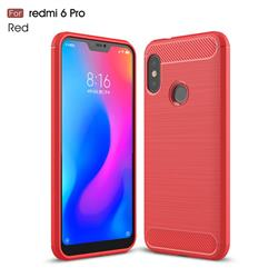Luxury Carbon Fiber Brushed Wire Drawing Silicone TPU Back Cover for Xiaomi Mi A2 Lite (Redmi 6 Pro) - Red