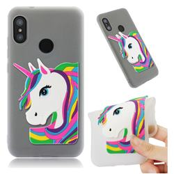Rainbow Unicorn Soft 3D Silicone Case for Xiaomi Mi A2 Lite (Redmi 6 Pro) - Translucent White