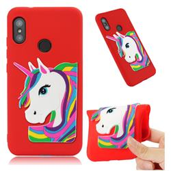 Rainbow Unicorn Soft 3D Silicone Case for Xiaomi Mi A2 Lite (Redmi 6 Pro) - Red