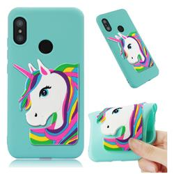 Rainbow Unicorn Soft 3D Silicone Case for Xiaomi Mi A2 Lite (Redmi 6 Pro) - Sky Blue