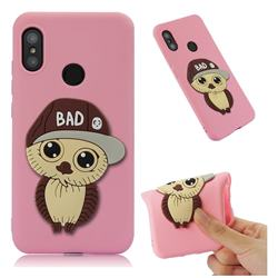 Bad Boy Owl Soft 3D Silicone Case for Xiaomi Mi A2 Lite (Redmi 6 Pro) - Pink