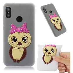 Bowknot Girl Owl Soft 3D Silicone Case for Xiaomi Mi A2 Lite (Redmi 6 Pro) - Translucent White