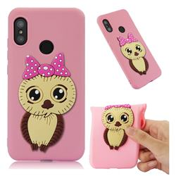 Bowknot Girl Owl Soft 3D Silicone Case for Xiaomi Mi A2 Lite (Redmi 6 Pro) - Pink