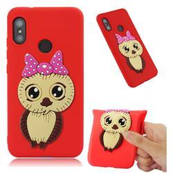 Bowknot Girl Owl Soft 3D Silicone Case for Xiaomi Mi A2 Lite (Redmi 6 Pro) - Red