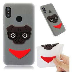Glasses Dog Soft 3D Silicone Case for Xiaomi Mi A2 Lite (Redmi 6 Pro) - Translucent White