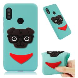 Glasses Dog Soft 3D Silicone Case for Xiaomi Mi A2 Lite (Redmi 6 Pro) - Sky Blue