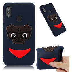 Glasses Dog Soft 3D Silicone Case for Xiaomi Mi A2 Lite (Redmi 6 Pro) - Navy