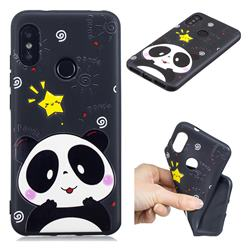 Cute Bear 3D Embossed Relief Black TPU Cell Phone Back Cover for Xiaomi Mi A2 Lite (Redmi 6 Pro)