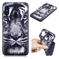 White Tiger 3D Embossed Relief Black TPU Cell Phone Back Cover for Xiaomi Mi A2 Lite (Redmi 6 Pro)